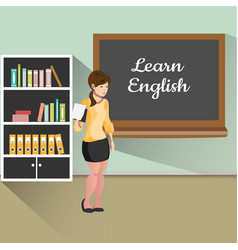 teacher with board learn english vector image