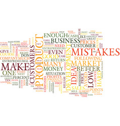 Ten entrepreneurial mistakes text background word vector