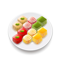 Turkish sweets isolated on white vector image vector image