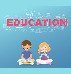 two students read a book under education text vector image