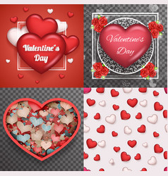 valentine day heart realistic 3d symbol vector image vector image