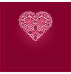 Valentines Day Card with patterned heart vector image