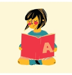 cute girl reading a book vector image