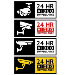 Video surveillance stickers set vector