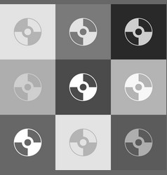 Cd or dvd sign grayscale version vector