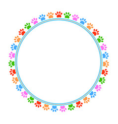 Colored paws frame vector
