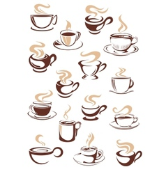 Set of steaming hot cups of coffee vector
