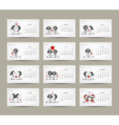 Calendar grid 2015 design Couple in love together vector image