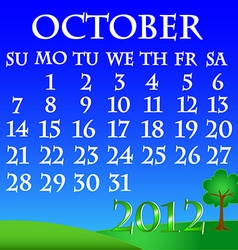 October 2012 landscape calendar vector