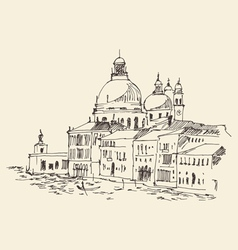 Venice city italy vintage engraved vector