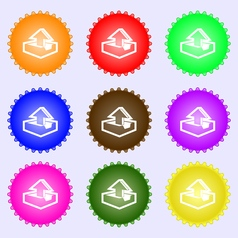 Upload icon sign A set of nine different colored vector image