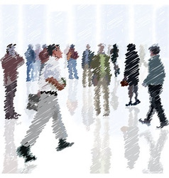 A crowd of scribble people going into the city vector