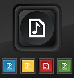 Audio mp3 file icon symbol set of five colorful vector