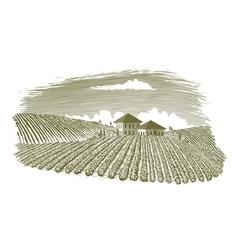 Woodcut Vineyard Landscape vector image