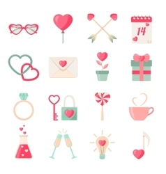Set of valentines day icons elements collection vector