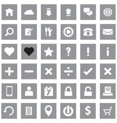 Web icon set flat style on gray rectangle vector