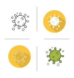 Virus flat design linear and color icons set vector