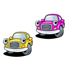 Funny cartoon cars with eyes vector