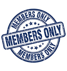 Members only blue grunge round vintage rubber vector