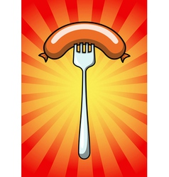 Sausage on the fork vector