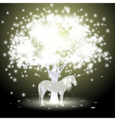 Magical tree and Unicorn vector image