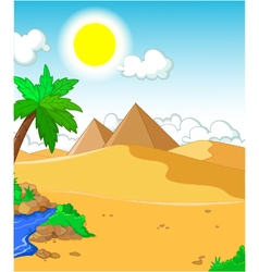 Beautiful view of tree cartoon with desert landsca vector