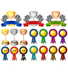 Set of trophy and ribbons vector
