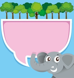 Border design with elephant and jungle vector