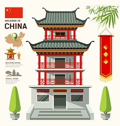 Building of china travel design vector