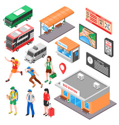 bus terminal isometric set vector image