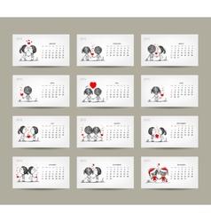 Calendar grid 2015 design couple in love together vector