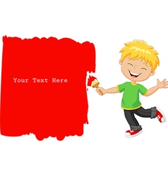Cartoon little boy painting the wall with red vector image vector image