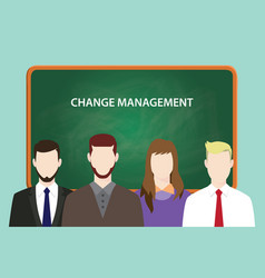 Change management white text on green chalk board vector