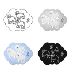 Count sheep icon in cartoon style isolated on vector