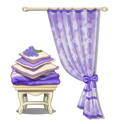 Curtain and chair with cushions in purple color vector
