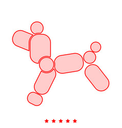 Dog balloon icon different color vector