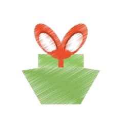 drawing green gift box red big bow vector image