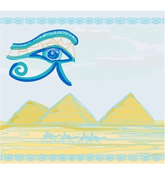 Egypt symbols and Pyramids - Traditional Horus Eye vector image