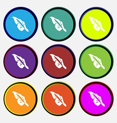 Feather icon sign Nine multi colored round buttons vector image vector image
