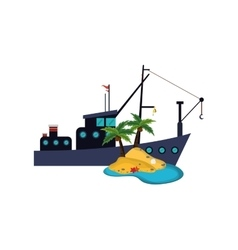 fishing boat and island icon vector image