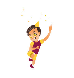 flat cartoon boy kid dancing isolated vector image