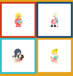 flat icon mother set of newborn baby mother kid vector image