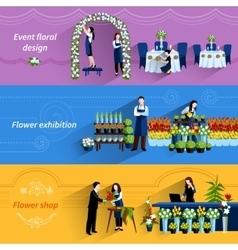 Florist shop service flat banners set vector