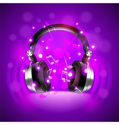 Headphones on dark glowing background vector image
