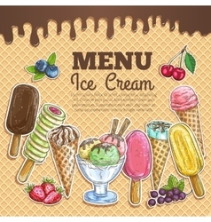 Ice cream menu color sketch on wafer background vector image vector image