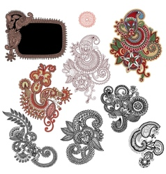 Line art ornate flower design collection ukrainian vector