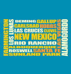 new mexico state cities list vector image