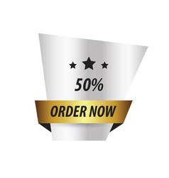 Order now label design gold silver vector