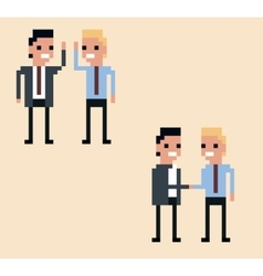 Pixel art two businessman hi vector