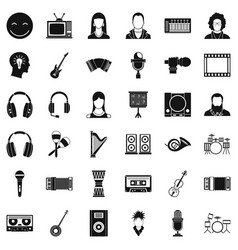 Play music icons set simple style vector